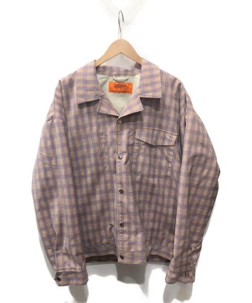 UNIVERSAL OVERALL(ユニバーサルオーバーオール)UNIVERSAL OVERALL (ユニバーサルオーバーオール) シャツジャケット ベージュ×ブルー サイズ:L チェックの古着・服飾アイテム
