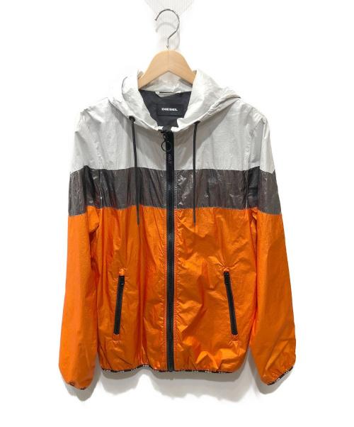 DIESEL(ディーゼル)DIESEL (ディーゼル) ナイロンジャケット ホワイト×オレンジ サイズ:Mの古着・服飾アイテム