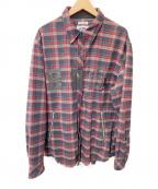 BILLIONAIRE BOYS CLUB()の古着「カットオフシャツジャケット」 レッド