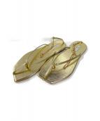 Pippichic(ピッピシック)の古着「アンクルストラップサンダル」|ゴールド