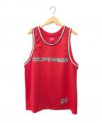 SUPREME()の古着「Rhinestone Basketball Jersey」|レッド