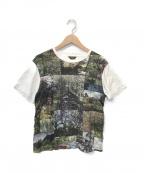 Paul Smith COLLECTION(ポールスミスコレクション)の古着「タイルドヨークシャーメドウプリントTシャツ」 ホワイト×グリーン