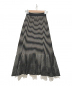 SONIA RYKIEL(ソニア リキエル)の古着「ボーダースカート」|ブラック×ベージュ