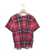 sacai(サカイ)の古着「フランネルプリーツシャツ」|レッド×ネイビー