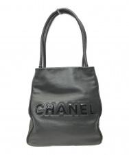 CHANEL (シャネル) カメリアロゴトートバッグ ブラック 8637663