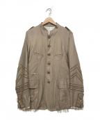 TAKAHIROMIYASHITA TheSoloIst.(タカヒロミヤシタザソロイスト)の古着「nehru collar jacket」 ベージュ