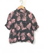 Sun Surf(サンサーフ)の古着「アロハシャツ」 ブラック×ピンク