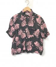 Sun Surf (サンサーフ) アロハシャツ ブラック×ピンク サイズ:S