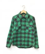 IRON HEART(アイアンハート)の古着「シャツジャケット」 グリーン×ブラック