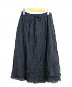 nest Robe(ネストローブ)の古着「リネンギャザースカート」|ブラック