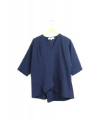 ENFOLD(エンフォルド)の古着「ミラノリブドルマンペプラムPO」|ネイビー