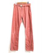 doublet(ダブレット)の古着「ベルテッドコーデュロイパンツ」|ピンク