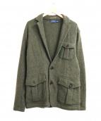POLO BY RALPH LAUREN(ポロ バイ ラルフローレン)の古着「ヘリンボーンニットジャケット」|オリーブ