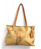 PRIMA CLASSE(プリマクラッセ)の古着「地図柄トートバッグ」|ブラウン