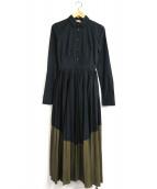 N°21 numero ventuno(ヌメロヴェントゥーノ)の古着「配色切替プリーツロングワンピース」 ブラック