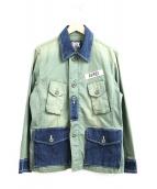 AVIREX(アビレックス)の古着「デニム切替ファティーグジャケット」|オリーブ×インディゴ