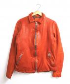 ISAMU KATAYAMA BACKLASH(イサムカタヤマ・バックラッシュ)の古着「製品染め襟付レザージャケット」|オレンジ
