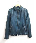 ISAMU KATAYAMA BACKLASH(イサムカタヤマ・バックラッシュ)の古着「製品染め加工襟付レザージャケット」|ネイビー