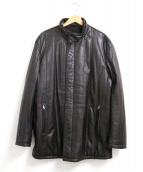 CORNELIANI(コルネリアーニ)の古着「スタンドカラーレザージャケット」|ブラウン