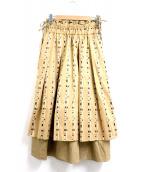 CHIRONN(チロン)の古着「ラウンドボーダースカート」|ブラウン