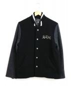 HOLLYWOOD RANCH MARKET(ハリウッドランチマーケッド)の古着「メルトンスタジャン / アワードジャケット」|ブラック