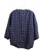 yokosakamoto(ヨーコサカモト)の古着「ノーカラーリネンシャツ」|ネイビー