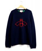 GUCCI(グッチ)の古着「ビー&ウェブジャガードウールセーター」|ネイビー