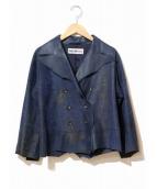 ISSEY MIYAKE(イッセイミヤケ)の古着「2ピースムラ染めレザージャケット」|ブルー