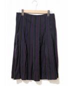 tricot COMME des GARCONS(トリコ コム デ ギャルソン)の古着「ストライプウールスカート」|ブラック×パープル