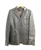 BRIONI(ブリオーニ)の古着「レザーテーラードジャケット」|ブラウン