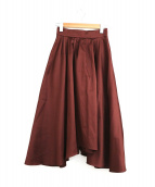 BLENHEIM(ブレンヘイム)の古着「アシンメトリーフレアロングスカート」 ボルドー