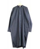 O project(オープロジェクト)の古着「ノーカラーロングシャツ」 ブラック