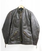 Langlitz Leathers(ラングリッツレザーズ)の古着「[古着]シングルライダースジャケット」|ブラウン