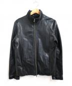Shama(シャマ)の古着「スタンドカラーレザージャケット」 ブラック