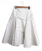 Drawer(ドゥロワー)の古着「ランダムストライプミディスカート」|ホワイト