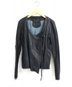 sisii(シシ)の古着「ノーカラーライダースジャケット」|ブラック