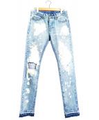 MNML(ミニマル)の古着「ハードクラッシュ&ブリーチジーンズ」|インディゴ