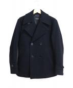BURBERRY BLACK LABEL(バーバリーブラックレーベル)の古着「ラムウールメルトンPコート」|ネイビー
