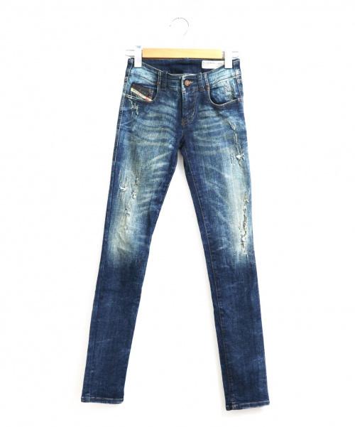 DIESEL(ディーゼル)DIESEL (ディーゼル) ダメージスキニージーンズ インディゴ サイズ:W23  Grupeeの古着・服飾アイテム