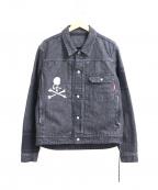 Mastermind JAPAN(マスターマインド ジャパン)の古着「13oz ボーダーダメージデニムジャケット」|ブラック