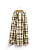 KATHARINE ROSS(キャサリンロス)の古着「切替チェックロングスカート」|ブラウン×イエロー