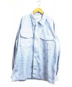 MOUNTAIN RESEARCH(マウンテンリサーチ)の古着「ジップアップカモフラクルーシャツ」|ブルー×ホワイト