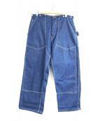 POST OALLS(ポストオーバーオールズ)の古着「ダブルニーペインターデニムパンツ」 インディゴ