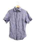 Vivienne Westwood man(ヴィヴィアンウエストウッドマン)の古着「オーブ刺繍半袖リネンシャツ」|ブルー