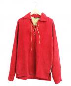Sears(シアーズ)の古着「[古着]ヴィンテージモールスキンレースアップシャツ」|レッド