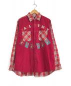 ()の古着「[古着]パッチワーク&カスタムチェックシャツ」 レッド