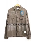 THE EDITOR(ザ エディター)の古着「ペイント加工ミリタリーシャツジャケット」 グレー