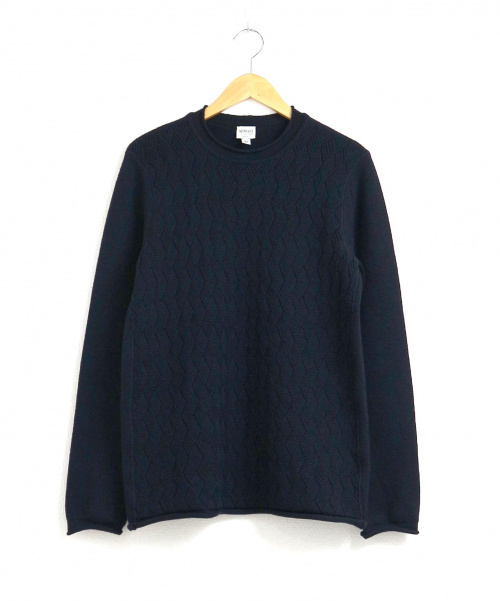 ARMANI COLLEZIONI(アルマーニコレツォーニ)ARMANI COLLEZIONI (アルマーニコレツォーニ) アーガイル編み柄ニット ネイビー サイズ:50の古着・服飾アイテム