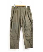 kolor/BEACON(カラービーコン)の古着「タイプライタークロップドパッカリングパンツ」 カーキ