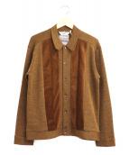 TENDERLOIN(テンダーロイン)の古着「パターン切替ニットジャケット / カーディガン」|ブラウン